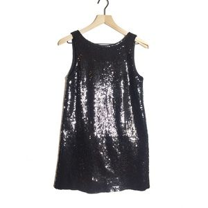 Free People Black Sequin Shift Dress | J667